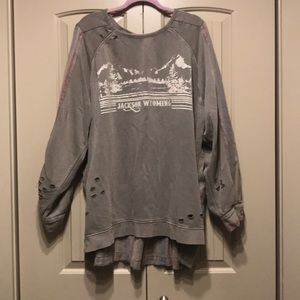 Free People Wyoming Distressed Pullover